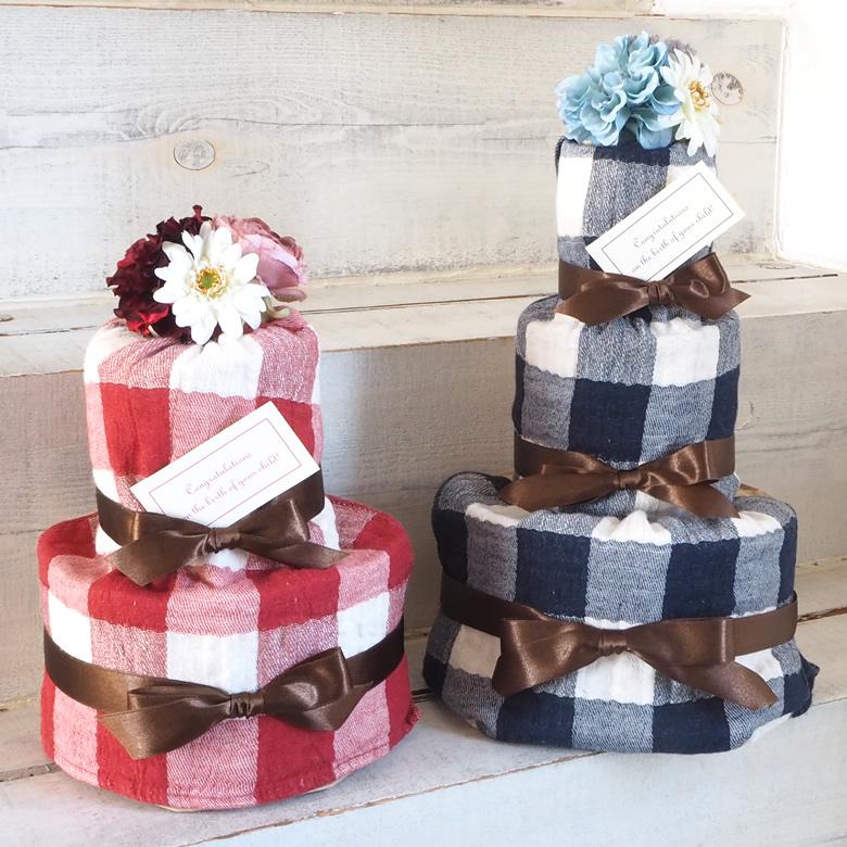 ヴィンテージチェックタオルおむつケーキ